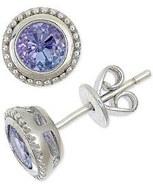 Tanzanite Milgrain Bezel Stud Earrings (1 ct. t.w.) in Sterling Silver