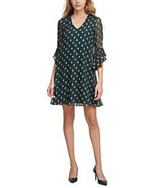 Dot-Print Ruffle-Sleeve Dress