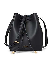 로렌 랄프로렌 Lauren Ralph Lauren Dryden Debby II Mini Leather Drawstring Bag,Lauren Navy/Blue Mist
