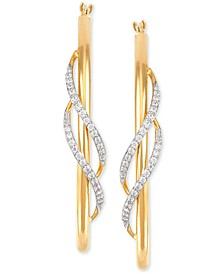 Diamond Twist Medium Twist Hoop Earrings (1/5 ct. t.w.) in 10k Gold, 1.5""