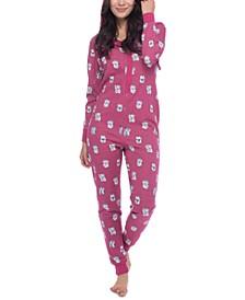 Women's Lucky Cat One-Piece Hooded Fleece Pajamas