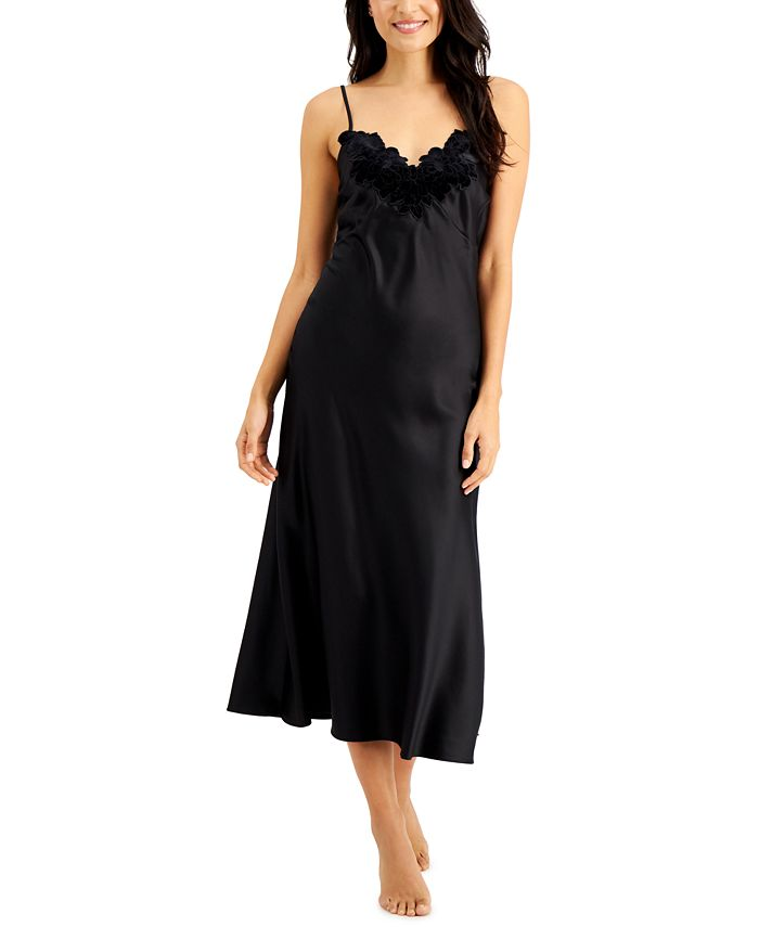 INC International Concepts - Velvet-Appliqué Long Satin Nightgown