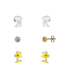 Two-Tone Snoopy, Enamel Woodstock, Cubic Zirconia Earrings Trio Set, 3 PiecesGold-Flash Fine Silver Plate