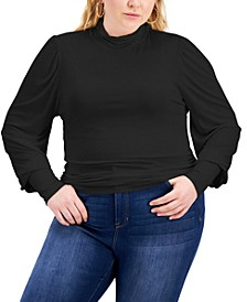 Trendy Plus Size Mock Neck Balloon-Sleeve Top