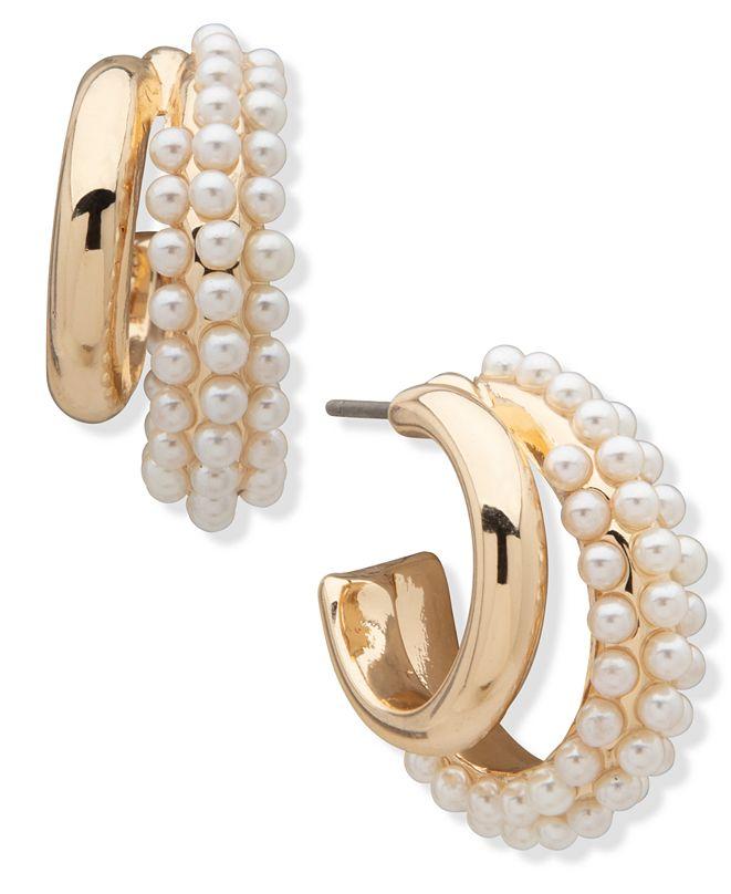 Anne Klein Pearl Hoop Earrings