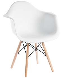 Mid-Century Modern Style Plastic Shell Dining Arm Chair with Wooden Dowel Eiffel Legs