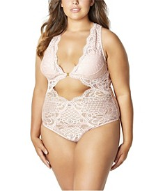 Plus Size Stephanie Lace Lingerie Teddy with Front Closure