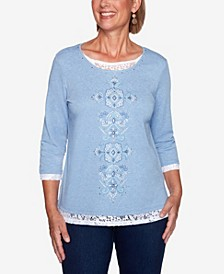 Women's Plus Size Denim Friendly Floral Center Lace Top