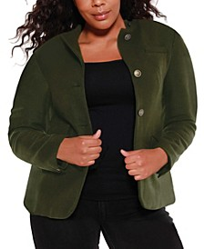 Black Label Women's Plus Size Utility Wool Blend Jacket