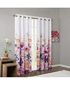 "Olivia Floral-Print 50"" x 84"" Blackout Grommet Window Panel"