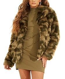 Tamie Camo-Print Faux-Fur Jacket