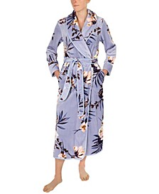 Floral-Print French Fleece Long Wrap Robe