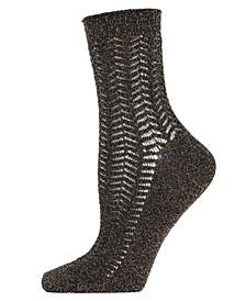 Metallic Ivy Pointelle Women's Anklet Socks
