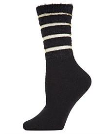 Luxe Shimmer Striped Women's Crew Socks