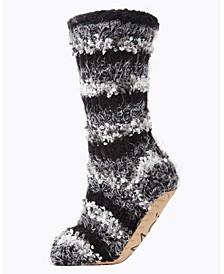 Striped Chunky Knit Plush Lined Women's Slipper Sock
