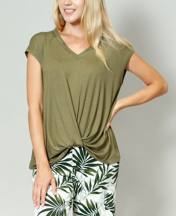 COIN 1804 Women's V-Neck Twist Front T-shirt