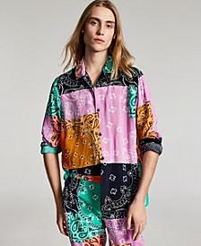 Men's Lance Regular-Fit Colorblocked Bandana-Print Patchwork Camp Shirt