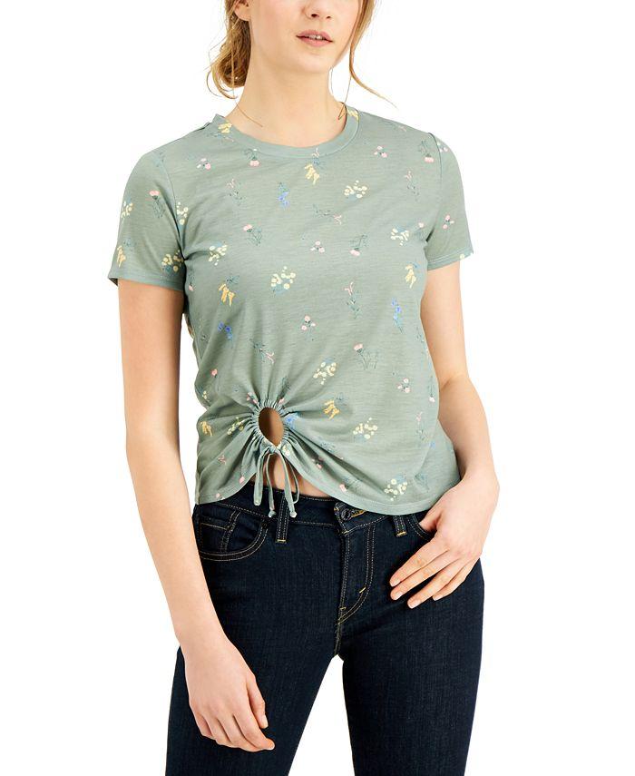 Self Esteem - Juniors' Printed Tie-Front T-Shirt