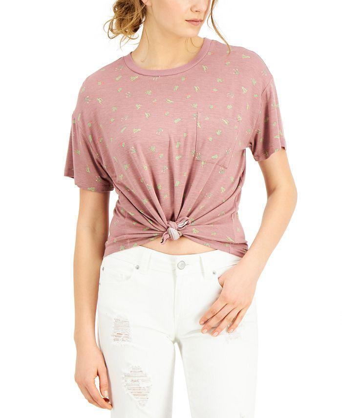 Self Esteem - Juniors' Cactus Printed Knot-Front Ringer T-Shirt