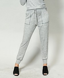 Women's Cozy Contrast Stitch Pocket Jogger