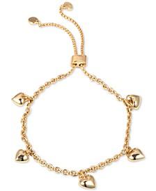Gold-Tone Heart Charm Slider Bracelet