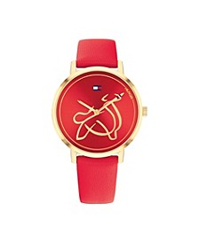 Women's Red Leather Strap Watch 35mm