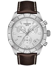 Men's Swiss Chronograph PR 100 Sport Brown Leather Strap Watch 44mm