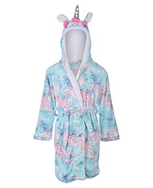 Big Girl's Soft Multi Print Flannel Fleece Robe with Shimmer and a Unicorn Hood