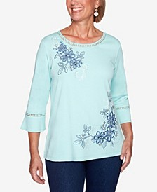 Women's Missy Denim Friendly Asymmetric Embroidered Flowers Top
