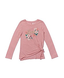 Big Girls Long Sleeve Side Tie Text with Graphic Tee