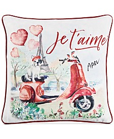 """Paris Dog 20"""" Square Decorative Pillow, Created for Macy's"""