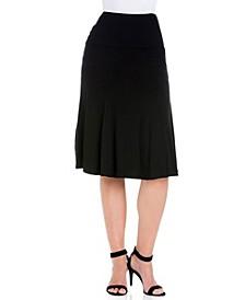Women's High Waist A-Line Midi Skirt