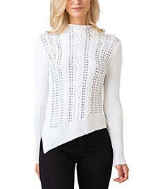 Black Label Embellished Cable Stitch Pullover Sweater