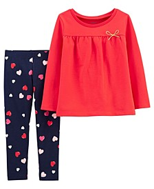 Carters Toddler Girl 2-Piece French Terry Top & Heart Legging Set