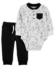 Carters Baby Boy 2-Piece Animal Bodysuit Pant Set