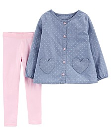 Carters Toddler Girl 2-Piece Heart Chambray Top & Legging Set