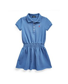 Toddler and Little Girls Smocked Mesh Polo Dress