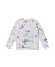 Little Girls Long Sleeve All Over Print Minky Pullover