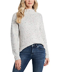 Mock-Neck Speckled Sweater