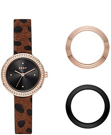 Women's Sasha Rose Gold-tone Stainless Steel Watch and Toprings Set, 29mm