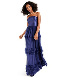 Juniors' Strapless Floral-Appliqué Gown