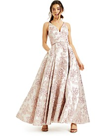 Juniors' Plunging Brocade Gown, Created for Macy's