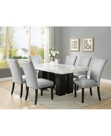 Camila Rectangle Dining Table and Silver Dining Chair 7-Piece Set, Created for Macy's