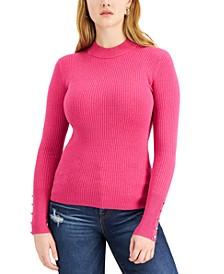 Brea Button-Cuff Ribbed Sweater