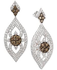 Nude Diamond & Chocolate Diamond Marquise Drop Earrings (3-1/10 ct. t.w.) in 14k White & Rose Gold