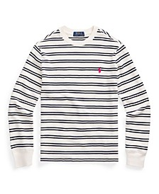 Big Boys Striped Waffle Knit Polo Shirt