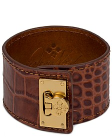 Gold-Tone Leather Cuff Bracelet