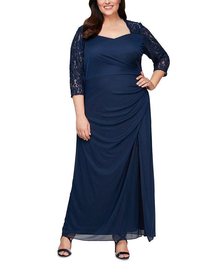 Alex Evenings - Plus Size Lace-Trim Ruched Gown