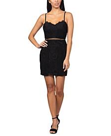 Velvet-Trim Lace Bodycon Dress