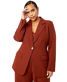 Trendy Plus Size Rhinestone-Button Blazer, Created for Macy's